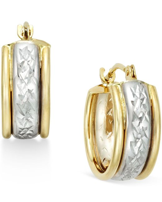 Macy's - Metallic Diamond-cut Hoop Earrings In 10k Two-tone Gold - Lyst