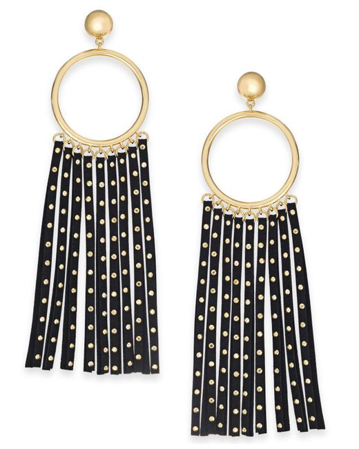 Kate Spade - Black Gold-tone Circle & Studded Faux Leather Statement Earrings - Lyst