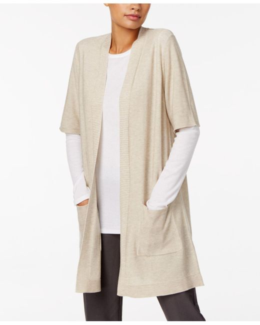 Eileen Fisher | Natural Long Elbow-sleeve Cardigan | Lyst