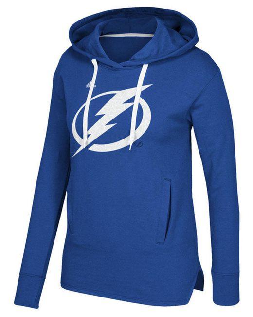 Adidas - Blue Women's Logo Shine Hooded Sweatshirt - Lyst