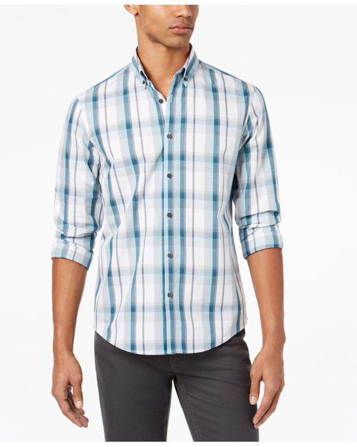 Alfani - Blue Men's Plaid Shirt for Men - Lyst