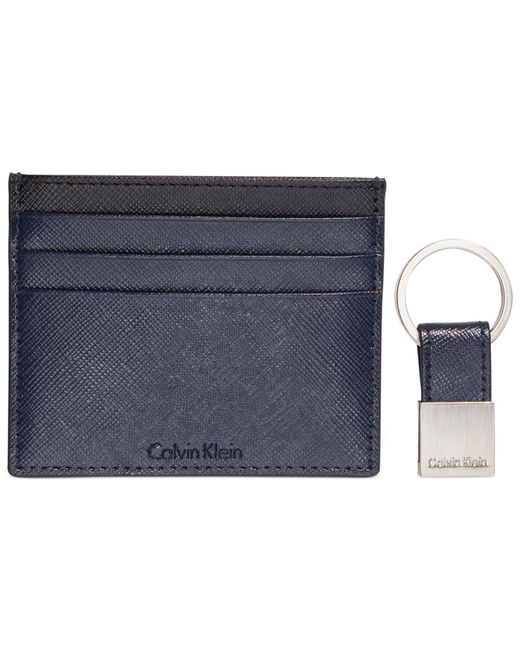 Calvin Klein | Blue Saffiano Leather Two-tone Card Case & Key Fob for Men | Lyst