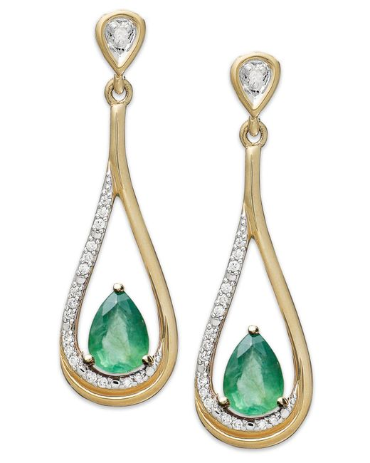 Macy's - Metallic 14k Gold Earrings, Emerald (3/4 Ct. T.w.) And Diamond (1/10 Ct. T.w.) Pear-shaped Drop Earrings - Lyst