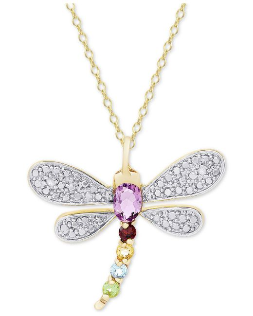 """Macy's - Metallic Multi-gemstone (5/8 Ct. T.w.) & Diamond Accent Dragonfly 18"""" Pendant Necklace In 18k Gold-plated Sterling Silver - Lyst"""