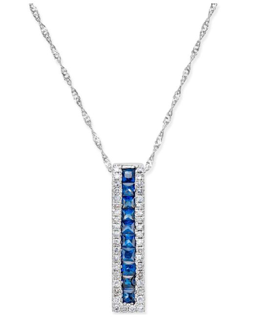 Macy's - Blue Sapphire (3/4-ct. T.w.) And Diamond (1/5 Ct. T.w.) Linear Pendant Necklace In 14k White Gold - Lyst