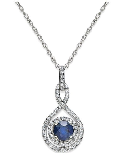 Macy's - Sapphire (3/8 Ct. T.w.) And Diamond (1/4 Ct. T.w.) Pendant Necklace In 14k White Gold - Lyst