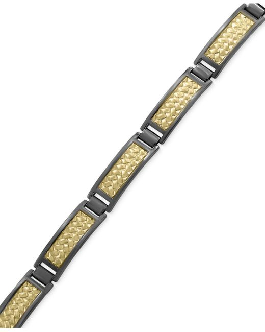 Effy Collection | Metallic Men's Herringbone Link Bracelet In 18k Gold-plated And Black Rhodium-plated Sterling Silver for Men | Lyst