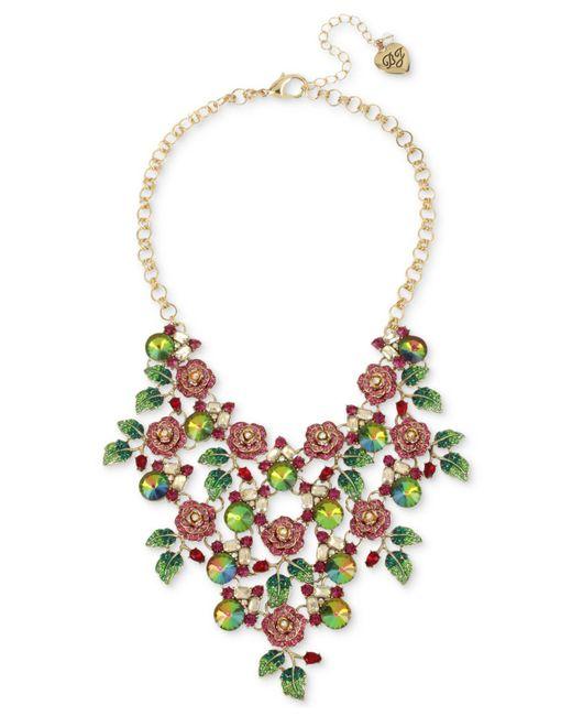 Betsey Johnson - Pink Enchanted Rose & Stone Bib Statement Necklace - Lyst