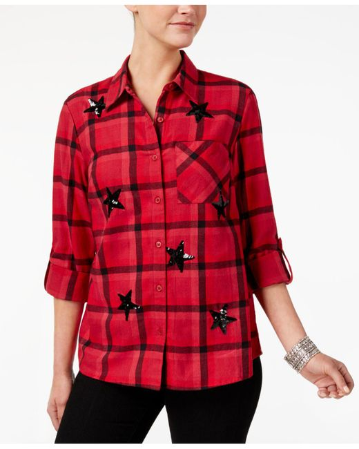 Style & Co. | Red Sequin-embellished Plaid Cotton Shirt | Lyst