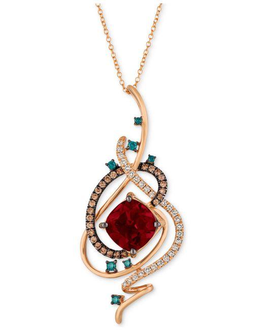 "Le Vian - Metallic Exotics® Crazy Collection® Pomegranate Garnettm (4-1/2 Ct. T.w.) & Diamond (3/4 Ct. T.w.) 18"" Pendant Necklace In 14k Rose Gold - Lyst"