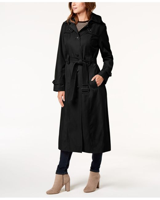 London Fog - Black Hooded Belted Maxi Trench Coat - Lyst