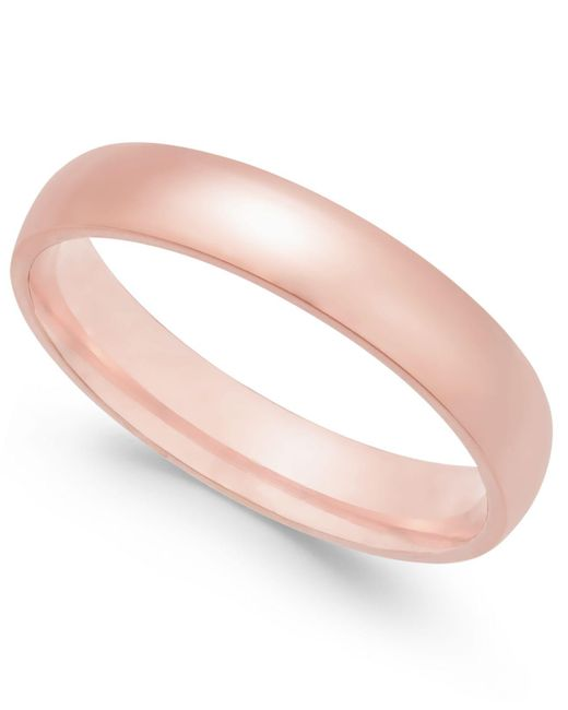 Macy's - Pink Polished Wedding Band In 18k Rose Gold - Lyst