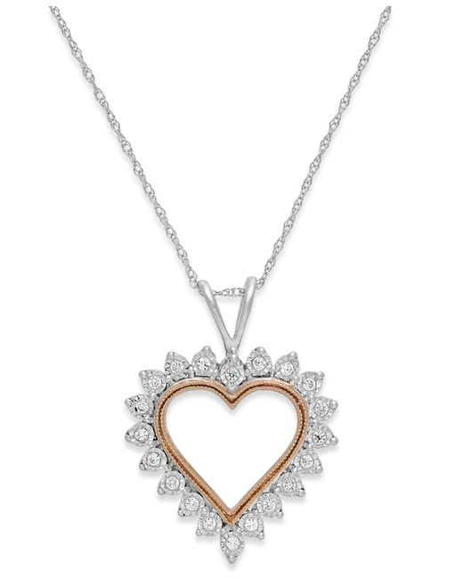 Macy's | Diamond Heart Pendant Necklace In 10k White Gold And Pink Rhodium (1/10 Ct. T.w.) | Lyst
