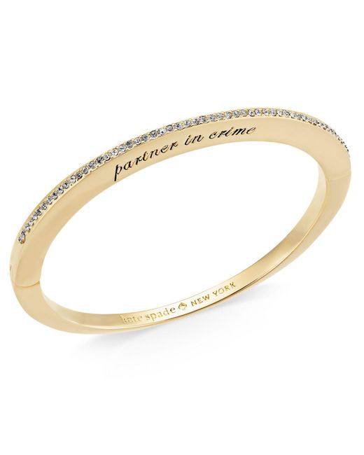 Kate Spade - Metallic Gold-tone Cubic Zirconia Engraved Hinged Bangle Bracelet - Lyst