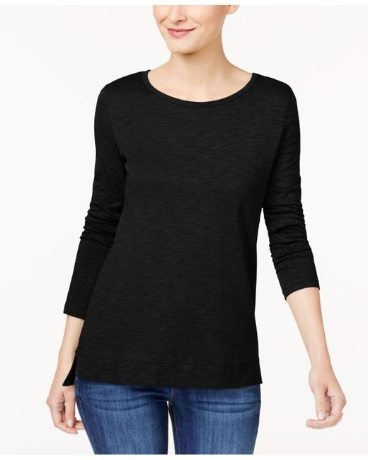 Style & Co. | Black High-low Long-sleeve T-shirt | Lyst
