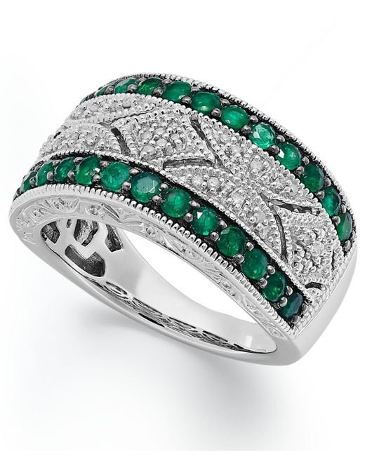 Macy's - Green Emerald (1/2 Ct. T.w.) And Diamond Accent Antique Band In Sterling Silver - Lyst