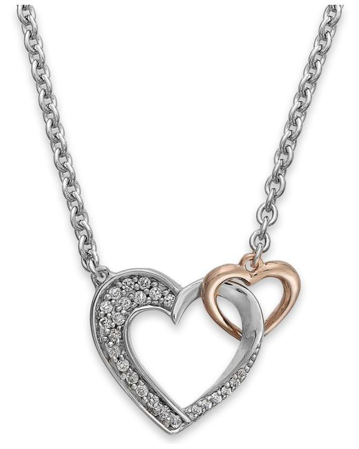 Macy's - Metallic Diamond Double Heart Pendant In Sterling Silver And 14k Rose Gold (1/5 Ct. T.w.) - Lyst