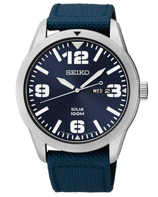 Seiko - Men's Solar Blue Nylon Strap Watch 43mm Sne329 for Men - Lyst