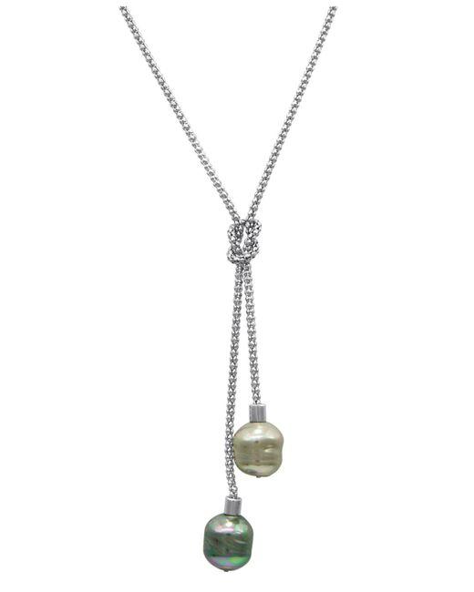 Majorica   Metallic Necklace, Organic Man-made Baroque Pearl Love Knot Lariat   Lyst