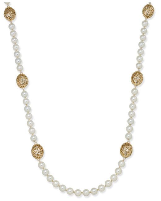 Charter Club | Metallic Large Bead & Imitation Pearl Long Necklace | Lyst