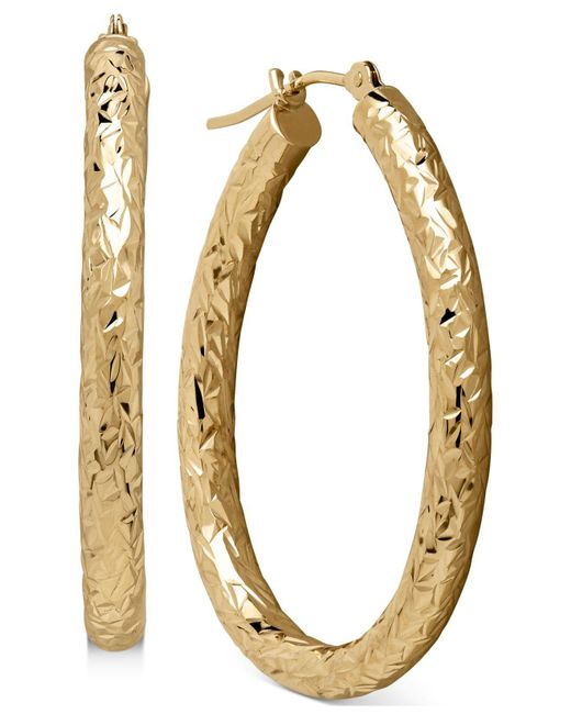 Macy's - Metallic Diamond-cut Hoop Earrings In 14k Gold - Lyst