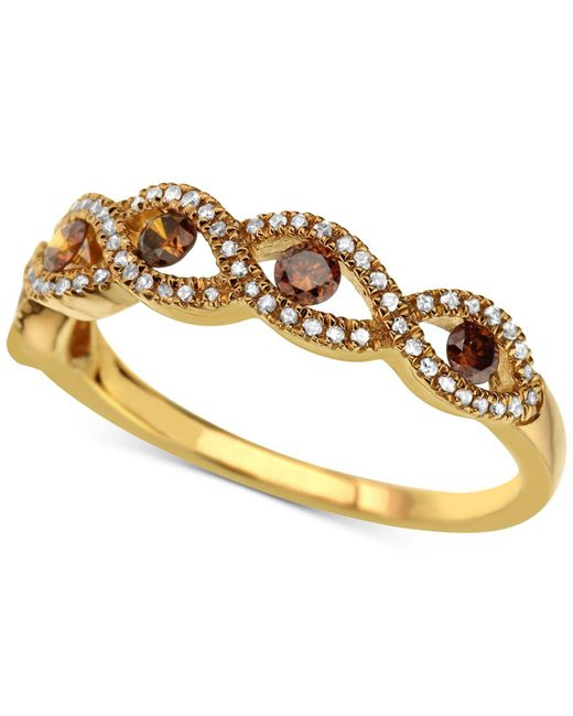 Macy's | Metallic Diamond Twist Ring (3/8 Ct. T.w.) In 14k Gold | Lyst
