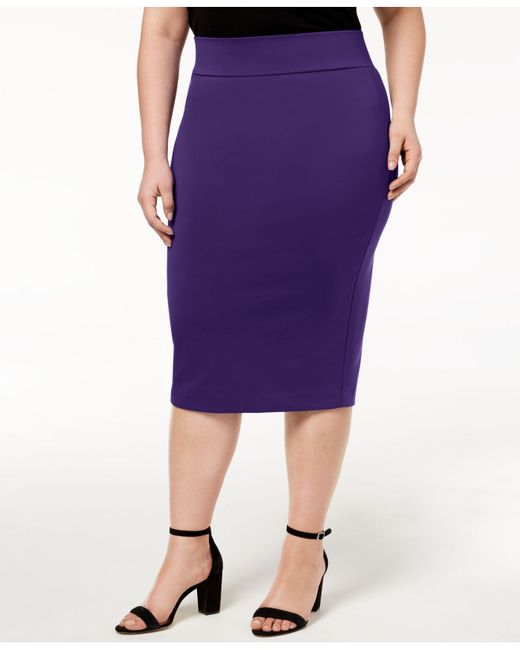 de5d674b058 Alfani - Purple Plus Size Knit Pencil Skirt