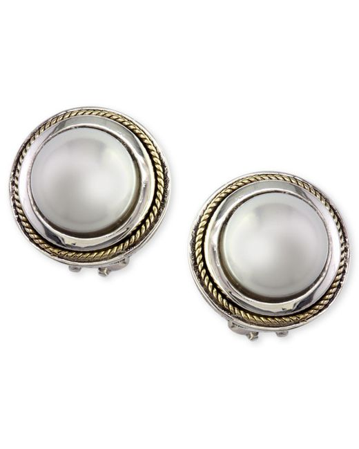 Effy Collection - Metallic Cultured Freshwater Pearl Scroll Side Earrings In 18k Gold And Sterling Silver - Lyst