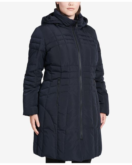 Calvin Klein | Blue Plus Size Hooded Layered Down Coat | Lyst