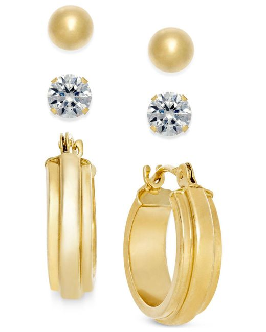 Macy's | Metallic Stud And Hoop Earring Set In 10k Gold | Lyst