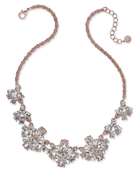 Charter Club - Metallic Rose Gold-tone Floral Crystal Necklace, Created For Macy's - Lyst