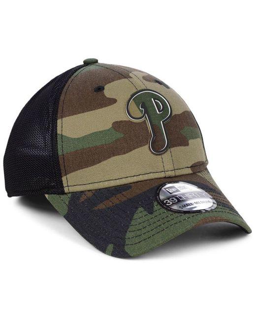 new style 6bcca 02775 ... KTZ - Black Philadelphia Phillies Camo Trucker 39thirty Cap for Men -  Lyst ...