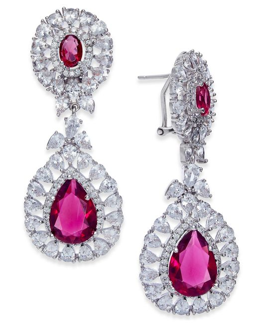 Joan Boyce - Multicolor Silver-tone Double Teardrop Crystal Drop Earrings - Lyst