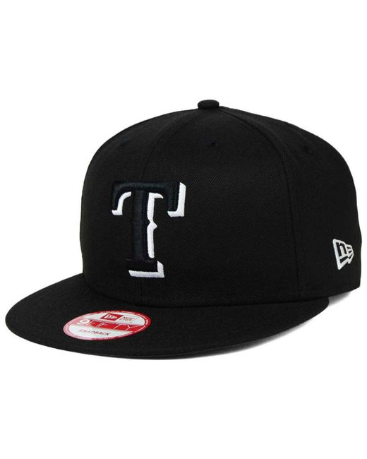 KTZ - Texas Rangers Black White 9fifty Snapback Cap for Men - Lyst