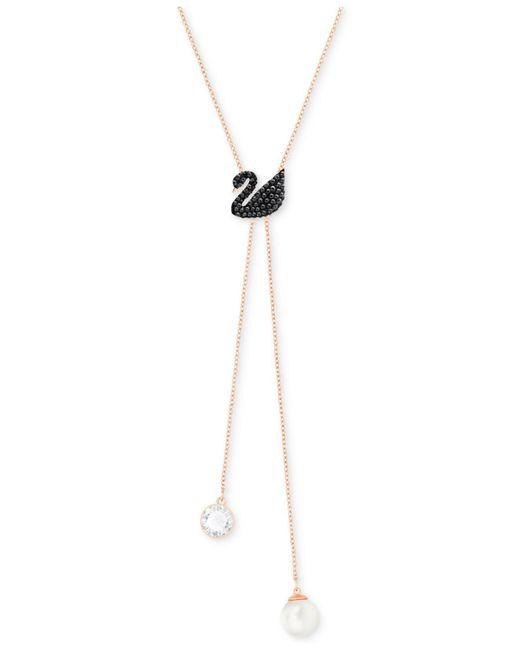 Swarovski - Metallic Rose Gold-tone Crystal Swan Lariat Necklace - Lyst