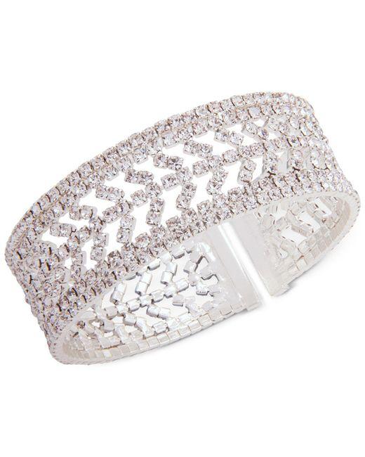 Anne Klein | Metallic Silver-tone Pavé Cuff Bracelet | Lyst