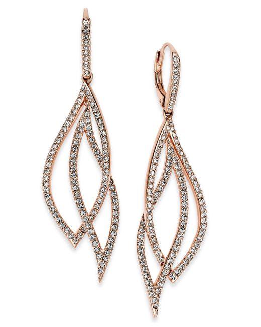 Danori   Metallic Rose Gold-tone Laurel Pavé Drop Earrings   Lyst