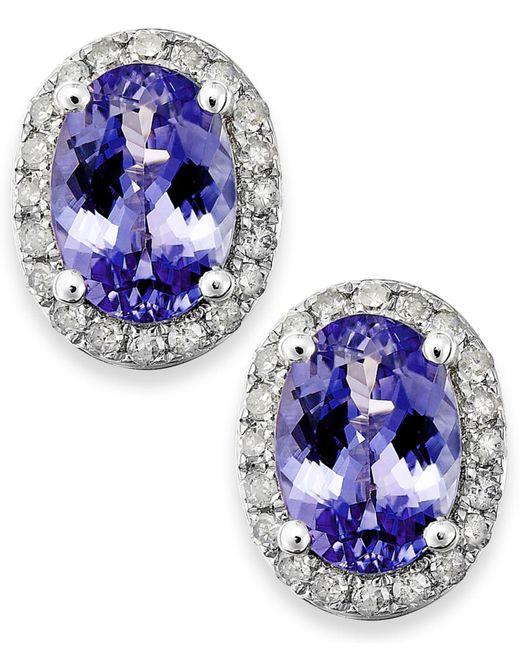 Macy's | Blue Tanzanite (1-1/2 Ct. T.w.) And Diamond (1/5 Ct. T.w.) Oval Stud Earrings In 14k White Gold | Lyst