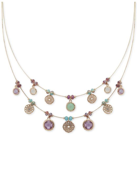 Lonna & Lilly - Metallic Gold-tone Multi-stone Disk Beaded Double-row Necklace - Lyst