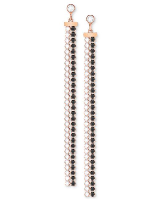 Swarovski - Metallic Rose Gold-tone Crystal Fringe Earring Jackets - Lyst