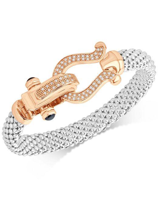 Macy's - Metallic Diamond Dew Drop Mesh Horseshoe Bracelet (5/8 Ct. T.w.) In Sterling Silver And 14k Rose Gold-plate - Lyst