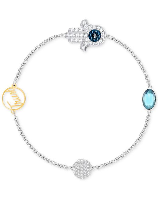 Swarovski - Metallic Remix Collection Two-tone Pavé Hamsa And Trust Magnetic Closure Bracelet - Lyst