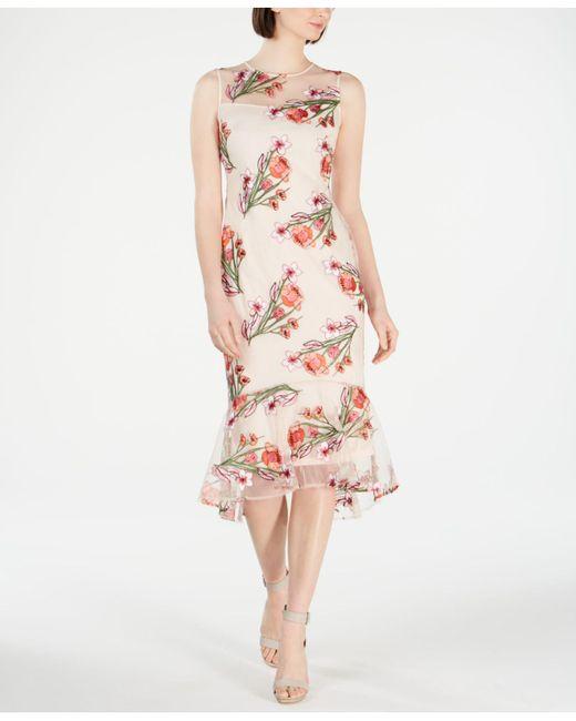 bfaf1cbfd30 Calvin Klein - Pink Floral-embroidered Trumpet Midi Dress - Lyst ...