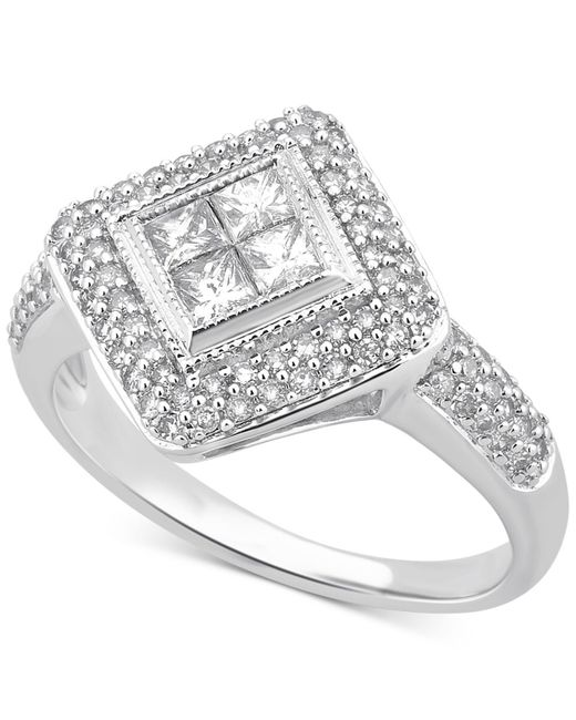 Macy's | Metallic Diamond Geometric Halo Ring (3/4 Ct. T.w.) In 14k White Gold | Lyst