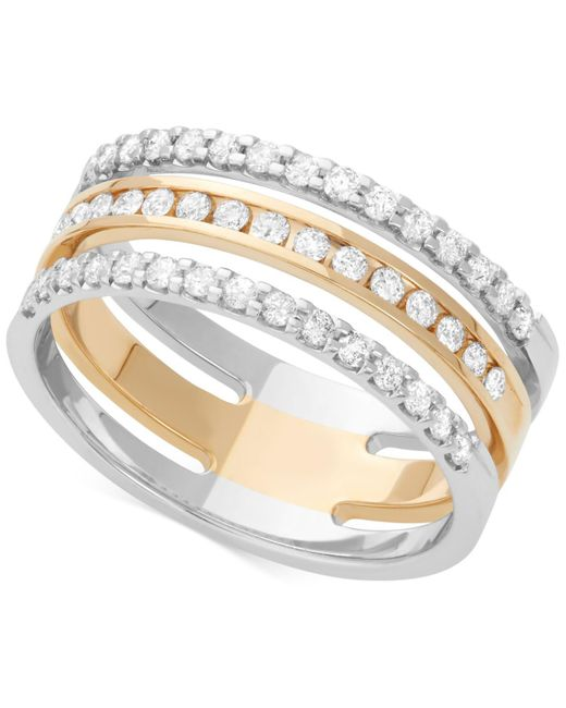 Macy's   Diamond Channel Band (1/2 Ct. T.w.) In 14k White And Yellow Gold   Lyst
