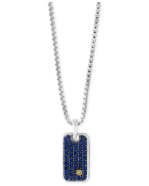 Effy Collection - Metallic Men's Sapphire Dog Tag Pendant Necklace (1-3/8 Ct. T.w.) In Sterling Silver And 18k Gold for Men - Lyst