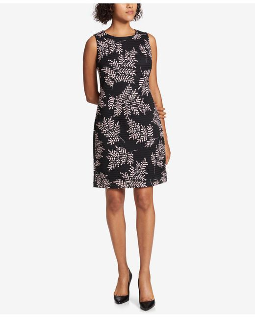 Tommy Hilfiger - Black Printed Burnout Sheath Dress - Lyst