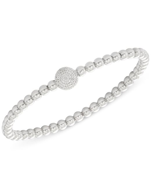 Wrapped in Love - Metallic Diamond Cluster Circle Bead Stretch Bracelet (1/6 Ct. T.w.) In Sterling Silver - Lyst