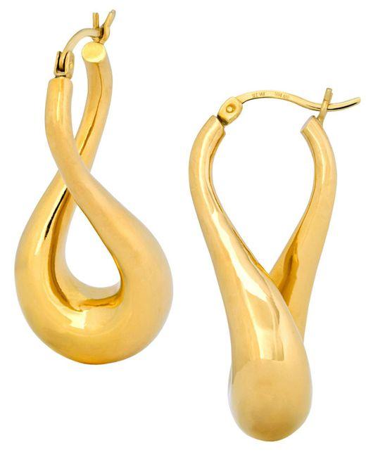 Signature Gold - Metallic Twist Hoop Earrings In 14k Gold - Lyst