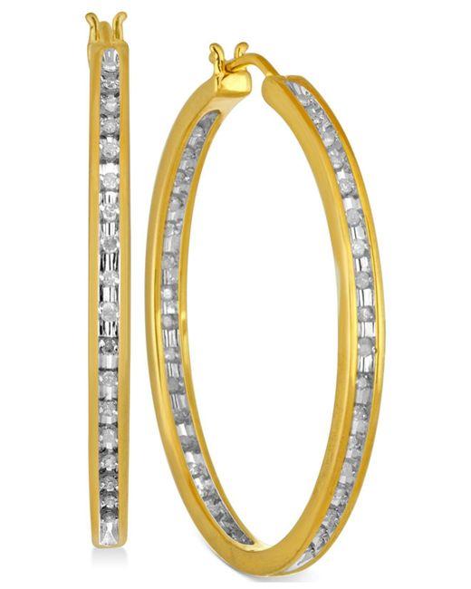 Macy's - Metallic Diamond Hoop Earrings (1/2 Ct. T.w.) In Sterling Silver And 14k Gold - Lyst